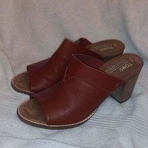 Tom's Majorca Cognac leather mules. Sz 8